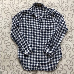 Anthro Cloth & Stone Gingham Button Down Top